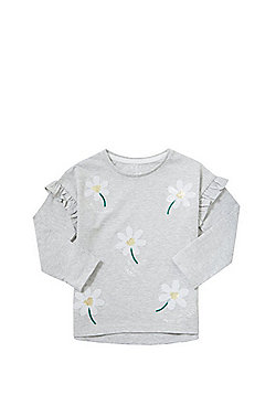 F&F Sequin Daisy Long Sleeve T-Shirt - Grey