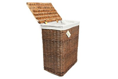 Woodluv Brown Wicker Rectangular Laundry Basket - Large