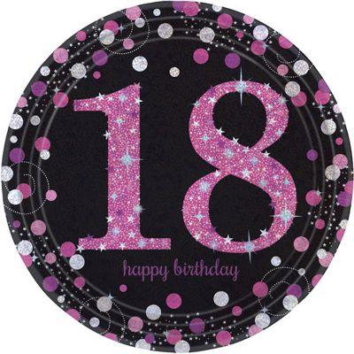 Pink Celebration Age 18 Plates - 23cm Paper Party Plates
