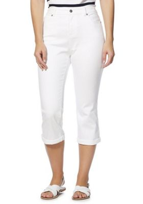 F&F Cropped Mid Rise Jeans White 20