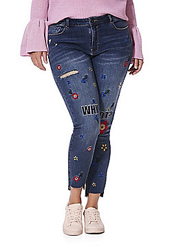 Simply Be Chloe Embroidered Skinny Jeans - Mid wash