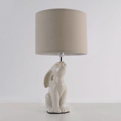 Buck Rabbit Table Lamp, Gloss Cream & Beige Shade