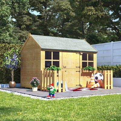 6x4 BillyOh Gingerbread Junior Children Wooden Playhouse Outdoor Garden - Premium with 2ft Picket Fence