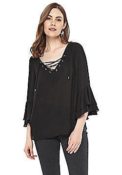 Wallis Eyelet Lace Up Top - Black