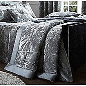 Catherine Lansfield Crushed Velvet Silver Bedspread - 220x220cm