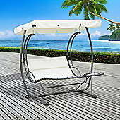 Outsunny 2 Person Double Hammock Outdoor Garden Swing Bed Canopy Rocking Sun Lounger