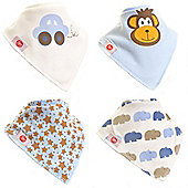 Zippy Boys Cute Bandana Dribble Bibs, 4 pack, one size