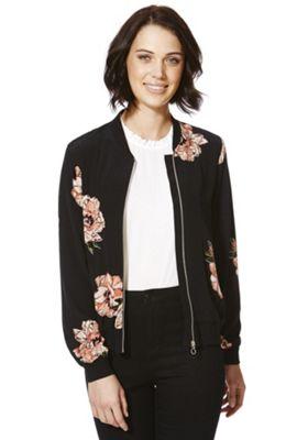 F&F Floral Bomber Jacket 6 Black & Pink