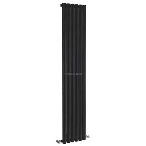 Hudson Reed Savy High Gloss Black Designer Vertical Radiator 1800mm High x 354mm Wide