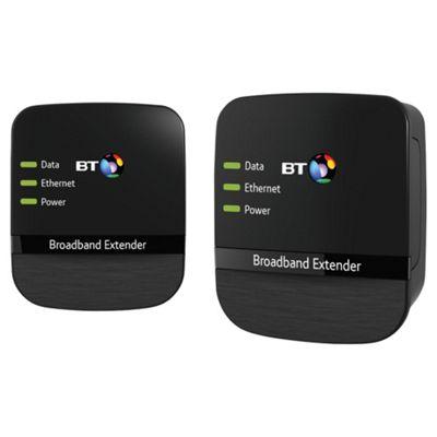 BT Broadband Extender 500 Kit, Powerline Adapter - Black