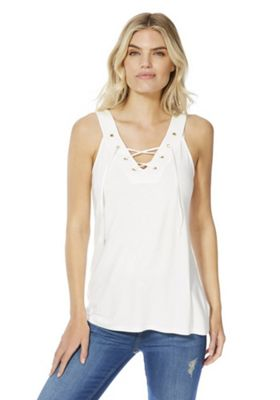 F&F Eyelet Lace-Up Vest Top Cream 6