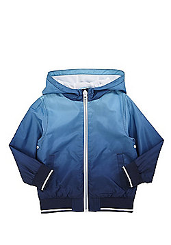 F&F Shower Resistant Ombre Hooded Mac - Blue & Grey