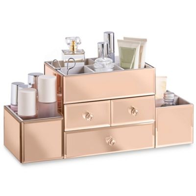 Buy beautify 3 drawer rose gold mirrored glass jewellery for Beauty table organiser
