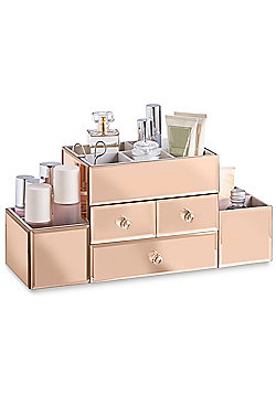 Beautify 3 Drawer Rose Gold Mirrored Glass Jewellery Box Makeup Organiser Case