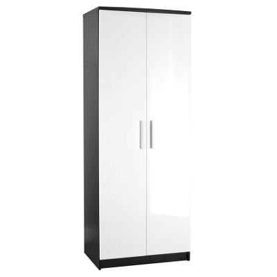 Chester 2 Door Plain Wardrobe - White On Black