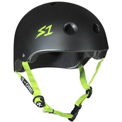S1 Helmet Company Lifer Helmet - Black Matt (Medium) with Green Strap
