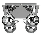 Zyklo 4 Way Square Plate Ceiling Spotlight, Polished Chrome