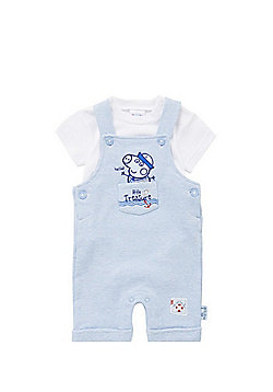 Peppa Pig Short Sleeve Bodysuit and Jersey Dungarees Set - White & Blue