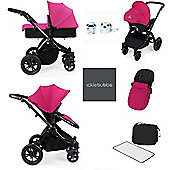 ickle bubba Stomp V2 AIO/Buggy Lights/Mosquito Net Travel System - Pink (Black Chassis)