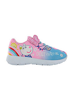 Girls Peppa Pig Pink Hook & Loop Sports Trainers Shoes Pumps UK Sizes 5 - 10 - Pink