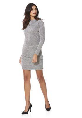JDY Sparkle Plisse Long Sleeve Dress M Silver
