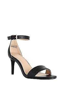 F&F Snakeskin Effect Heeled Sandals - Black