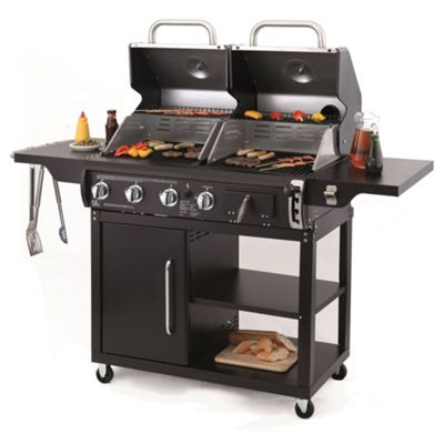 Buffalo Duel Fuel Charcoal and 3 Burner Gas Combo BBQ with 57cm Grid-in-Grid System
