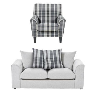 Wrayton Scatterback Accent Chair + 2.5 Seater Sofa Set, Grey