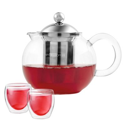 Andrew James Infusion Teapot with Removable Infuser Core - Gift Set with 2 Glass Tea Cups