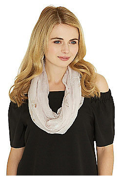 F&F Foil Dragonfly Crinkle Tube Scarf - Pink