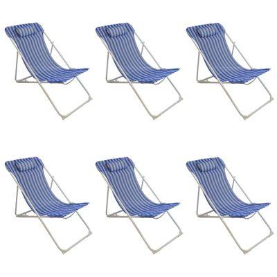 Harbour Housewares Adjustable Metal Garden Deck Chair - Blue Stripe x6