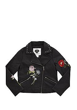 F&F Embroidered Floral Faux Leather Biker Jacket - Black