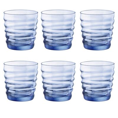 Bormioli Rocco Riflessi Glass Drinking Tumblers - Sapphire Blue - 300ml - Pack of 6