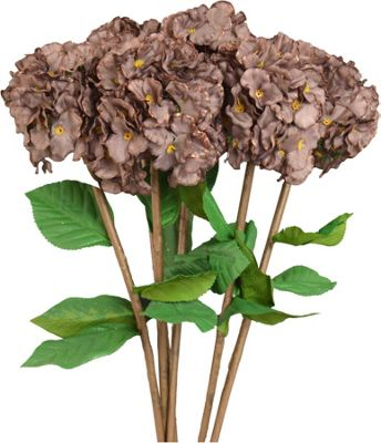 Artificial Long Stem Hydrangea Flowers In Brown - 73cm - Bunch Of 6 Stems
