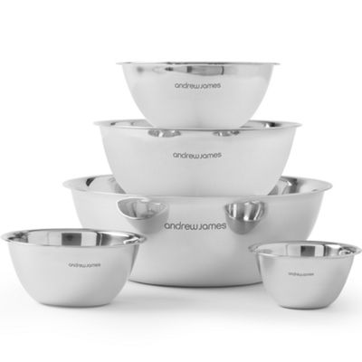 Andrew James Mixing Bowl Set 0.5L to 10L Capacity Stackable for Storage - Stainless Steel
