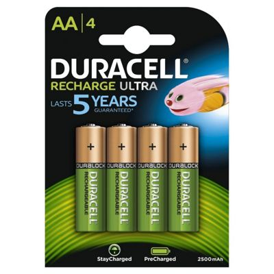 4 X Duracell AA 2500 mAh Rechargeable Batteries NiMH