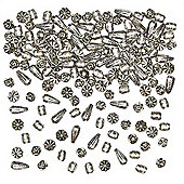 Silver Designer Beads for Children to Create Bracelets and Make Jewellery (Pack of 200)