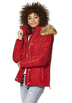 F&F Faux Fur Trim Shower Resistant Puffer Jacket - Red