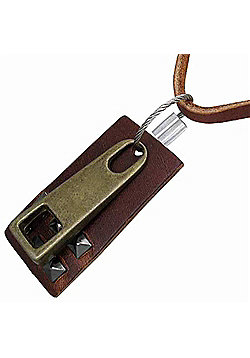 Urban Male Adjustable Length Modern Brown Leather Necklace with Dog Tag & Zipper Pendant