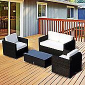 Outsunny 4 Pieces Wicker Steel Rattan Sofa Set Garden Chair Seat Furniture Patio - Black