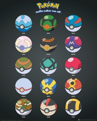 Pokemon Pokeballs PKMN Mini Poster 40x50cm