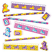 Pretty Pony 4-Pc Stationery Set for Children - Fun Party Bag Filler Loot Gifts for Kids (Pack of 4)