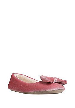 F&F Velvet Ballerina Slippers - Pink