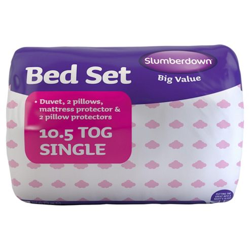 Slumberdown Bed Set: 2 Pillows, 2 Pillow Protectors, 10.5 Tog Duvet and Mattress Protector, Single