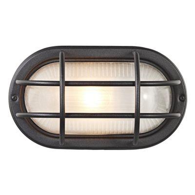 Matt Black Cast Aluminium Outdoor Oval Bulkhead Wall Light