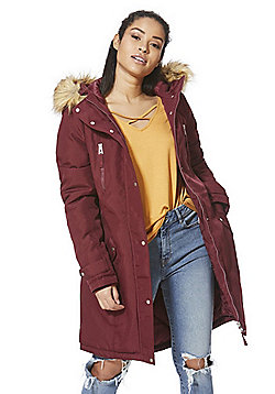 Vero Moda Faux Fur Trim Hooded Parka - Burgundy