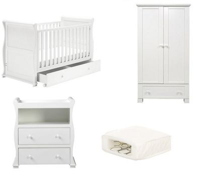East Coast Alaska Sleigh 3 Piece Nursery Room Set with Sprung Mattress