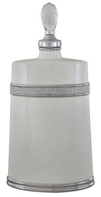 Cream And Silver Oval Glazed Apothcary Jar 46cm