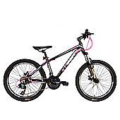 "Tiger ACE 24"" Wheel Front Suspension Mountain Bike Black Pink"