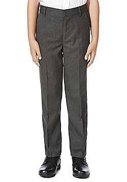 F&F School Boys Flat Front Trousers - Grey